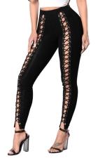 Womens High Waist Cross Lace-up Cutout Plain Leggings Black