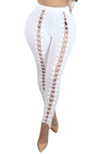 Womens High Waist Cross Lace-up Cutout Plain Leggings White