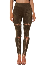 Womens Faux Suede Keyhole Cross Lace-up High Waist Leggings Army Green