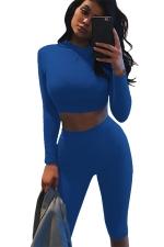 Womens Long Sleeve Plain Cropped Pants Suit Blue