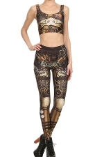 Womens Armour Printed Tank Top&High Waist Sports Pants Suit Brown
