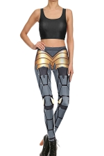 Womens Crop Tank Top&Armour Printed High Waist Pants Suit Gray