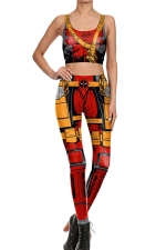 Womens Armour Printed Crop Top&High Waist Sports Pants Suit Red
