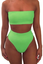 Womens Sexy Plain Bandeau Top&High Waist Bottom Bikini Set Green