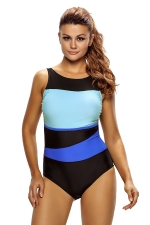 Womens Color Block Open Out Back One Piece Swimsuit Blue