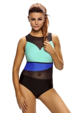 Womens Color block Mesh Insert One Piece Swimsuit Blue