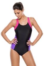 Womens Color Block Racerback One Piece Swimsuit Black