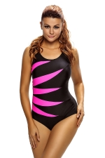 Womens Color Block Lace-up Black Classic Monokini Rose Red