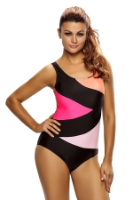 Womens Color Block Front Lace up Back One Piece Swimsuit Black