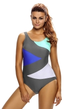 Womens Color Block Front Lace up Back One Piece Swimsuit Gray