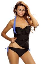 Women Halter Neck Bandeau Double-string Bottom Tankini Swimsuit Blue