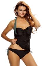 Women Halter Neck Bandeau Double-string Bottom Tankini Swimsuit Gray