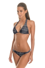 Womens Halter Triangle Letter Printed 2PCS String Bikini Set Black