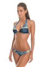 Womens Triangle Starry Sky Printed 2PCS String Bikini Set Navy Blue