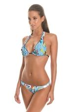 Womens String Halter Triangle 2PCS Pony Printed Bikini Set Blue