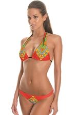 Womens String Halter Triangle 2PCS Exotic Printed Bikini Set Tangerine