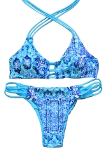 Womens Strappy Halter Hollow Out Two-piece Bikini Suit Blue