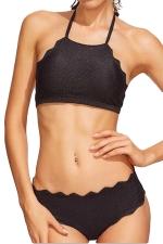 Womens Scalloped Trim Halter Lace-up Plain 2PCS Bikini Set Black