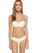 Womens Plain Bandeau Scalloped Trim 2PCS Bikini Set White