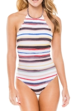 Womens Halter Scalloped Trim Backless Striped One Piece Swimsuit Red