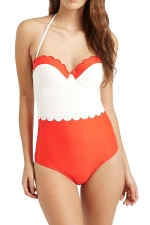Womens Color Block Halter Scalloped Trim One Piece Swimsuit Red