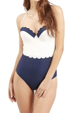 Womens Color Block Halter Scalloped Trim One Piece Swimsuit Navy Blue