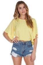 Womens Plain Crewneck Butterfly Sleeve Chiffon Blouse Yellow
