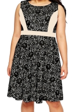 Womens Lace Patchwork Plus Size Sleeveless Midi Dress Beige White