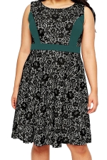 Womens Lace Patchwork Plus Size Sleeveless Midi Dress Green