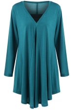 Womens Plus Size V Neck Asymmetric Long Sleeve Plain Dress Blue