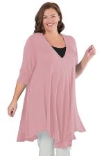 Womens Plus Size V Neck Asymmetric Long Sleeve Plain Dress Pink
