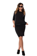 Womens Lace Trim 3/4 Length Sleeve Two-piece Skirt Suit Black