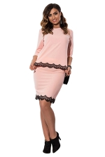 Womens Lace Trim 3/4 Length Sleeve Two-piece Skirt Suit Pink