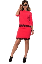 Womens Lace Trim 3/4 Length Sleeve Two-piece Skirt Suit Watermelon Red