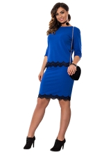 Womens Lace Trim 3/4 Length Sleeve Two-piece Skirt Suit Sapphire Blue
