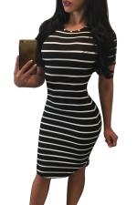 Womens Crewneck Short Sleeve Striped Midi Bodycon Dress Black