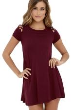 Womens Cutout Shoulder Short Sleeve Plain Smock Dress Ruby