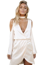 Womens Deep V Neck Cold Shoulder Long Sleeve Choker Plain Dress Pink