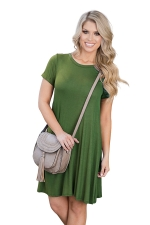 Womens Crewneck Short Sleeve Plain Smock Dress Army Green