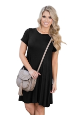 Womens Crewneck Short Sleeve Plain Smock Dress Black