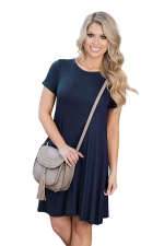 Womens Crewneck Short Sleeve Plain Smock Dress Navy Blue