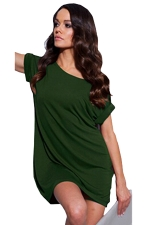 Womens Boat Neck Plain Short Sleeve Smock Dress Green