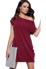 Womens Boat Neck Plain Short Sleeve Smock Dress Ruby