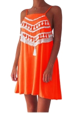 Womens Tassel Decor Spaghetti Straps Mini Smock Dress Orange