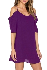 Womens Chiffon Straps Cold Shoulder Half Sleeve Smock Dress Purple