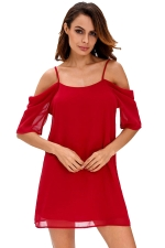 Womens Chiffon Straps Cold Shoulder Half Sleeve Smock Dress Red
