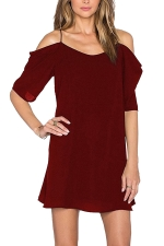 Womens Chiffon Straps Cold Shoulder Half Sleeve Smock Dress Ruby