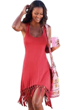 Womens Sexy Fringe Hem Waisted Tank Dress Watermelon Red