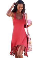 Womens Sexy Fringe Hem Waisted Tank Dress Watermelon Red