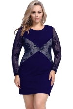 Womens Plus Size Lace Patchwork Crew Neck Long Sleeve Dress Navy Blue